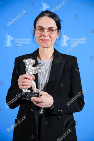 Angela Schanelec, winner of the Silver Bear for Best Director for 'I Was at Home, But' poses at the closing ceremony of the 69th annual Berlin International Film Festival in Berlin, Germany, 16 February 2019. The Berlinale runs from 07 to 17 February.
