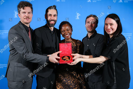 Johannes Krell (2-L) and Florian Fischer (2-R), winner of the Golden Bear for Best Short Film for 'Umbra', pose with Jeffrey Bowers , Koyo Kouoh and Vanja Kaludjercic pose at the closing ceremony of the 69th annual Berlin International Film Festival in Berlin, Germany, 16 February 2019. The Berlinale runs from 07 to 17 February.