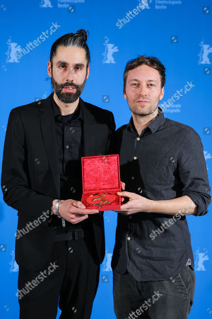 Johannes Krell (L) and Florian Fischer (R), winner of the Golden Bear for Best Short Film for 'Umbra', pose at the closing ceremony of the 69th annual Berlin International Film Festival in Berlin, Germany, 16 February 2019. The Berlinale runs from 07 to 17 February.