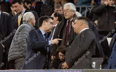 FC Barcelona's president Josep Maria Bartomeu (L) talks with Valladolid's president Ronaldo Nazario (R) before the Spanish LaLiga match between FC Barcelona and Real Valladolid at Camp Nou stadium in Barcelona, Catalonia, Spain, 16 February 2019.