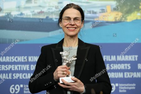 Angela Schanelec winner of the Silver Bear for Best Director for 'I Was at Home, But' attends the winners press conference of the closing and award ceremony of the 69th annual Berlin International Film Festival, in Berlin, Germany, 16 February 2019. The Berlinale runs from 07 to 17 February.