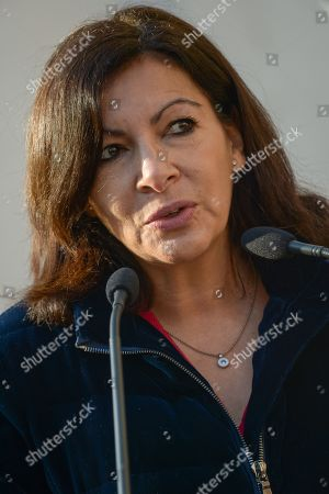 Anne Hidalgo, Mayor of Paris. Anne Hidalgo, Mayor of Paris inaugurated on February 16, 2019 with Jean-Jacques Sempe, Jean-Charles Decaux, Chairman of the Executive Board and Co-CEO of JCDecaux, Christophe Girard, Deputy Culture, Pierre Aidenbaum, Mayor of the 3rd district of Paris and Francois Morel, a fresco by Jean-Jacques Sempe, one of the greatest French cartoonists, on a building of the 3rd district between boulevard des Filles du Calvaire and rue Froissart in Paris. This work was made possible thanks to the support of JCDecaux. 200 hours of work were necessary to the Parisian painter Jean-Marie Havan to make this drawing of 7 meters by 5. Paris, FRANCE - 16/02/2019//HARSIN_FRESQUESEMPE020/1902162254/Credit:ISA HARSIN/SIPA/1902162255