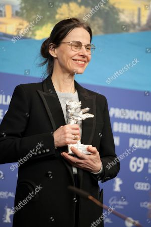 Stock Picture of Angela Schanelec, winner of the Silver Bear for Best Director for the film I Was at Home, But at the award winners press conference at the 69th Berlinale International Film Festival, on Saturday 16th February 2019, Hotel Grand Hyatt, Berlin, Germany.