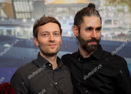 Stock Image of Florian Fischer and Johannes Krell winner of the Golden Bear for Best Short Film for Umbra at the award winners press conference