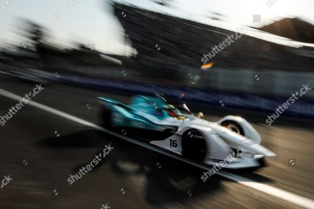 British driver Oliver Turvey of NIO Formula E team competes in the Formula E Grand Prix of Mexico City at the Hermanos Rodriguez Autodrome in Mexico City, Mexico, 16 February 2019.