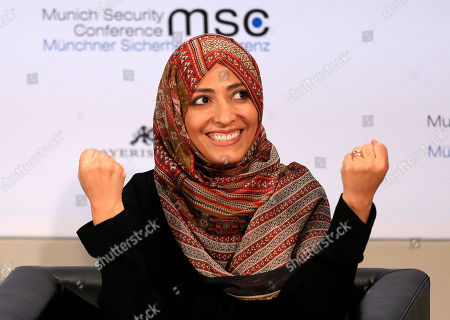 Nobel Peace laureate, Yemeni journalist, politician and human rights activist Tawakkol Karman reacts during the 55th Munich Security Conference (MSC) in Munich, Germany, 17 February 2019. From 15 to 17 February, politicians, various experts and guests from all over the world will discuss global security issues in their annual meeting.