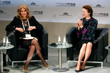 Henrietta H. Fore, right, Executive Director United Nations International Children's Emergency Fund applauds to Former Prime Minister of Denmark Helle Thorning-Schmidt at the International Security Conference in Munich, Germany
