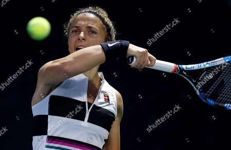 Sara Errani of Italy in action during her first round match against Ivana Jorovic of Serbia at the Dubai Duty Free Tennis WTA Championships 2019 in Dubai, United Arab Emirates, 17 February 2019.