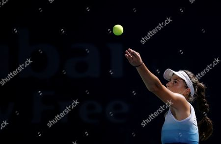Ivana Jorovic of Serbia in action during her first round match against Sara Errani of Italy at the Dubai Duty Free Tennis WTA Championships 2019 in Dubai, United Arab Emirates, 17 February 2019.