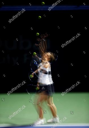A Multi exposure photo shows Sara Errani of Italy in action during her first round match against Ivana Jorovic of Serbia at the Dubai Duty Free Tennis WTA Championships 2019 in Dubai, United Arab Emirates, 17 February 2019.