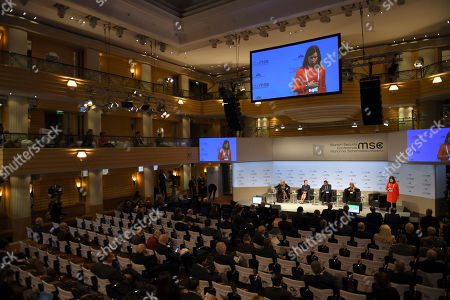 Former Prime Minister of Denmark Helle Thorning-Schmidt, from left, Henrietta H. Fore, Executive Director United Nations International Children's Emergency Fund, Kumi Naidoo, Secretary General Amnesty International andTawakkol Karman, chairwoman, Woman Jouirnalists Without Chainsduring during podium discussion at the Munich Security Conference in Munich, Germany