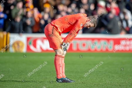 Stock Picture of Colin Doyle (#13) of Heart of Midlothian looks forlorn after his mistake gifts Motherwell the wining goal during the Ladbrokes Scottish Premiership match between Motherwell FC and Heart of Midlothian FC at Fir Park, Stadium, Motherwell