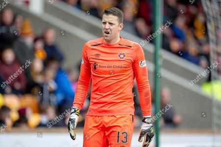 Colin Doyle (#13) of Heart of Midlothian during the Ladbrokes Scottish Premiership match between Motherwell FC and Heart of Midlothian FC at Fir Park, Stadium, Motherwell