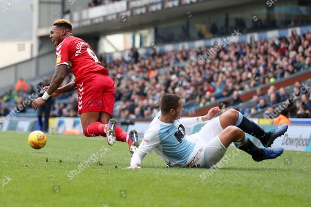 Jack Rodwell of Blackburn Rovers fouls Britt Assombalonga of Middlesbrough