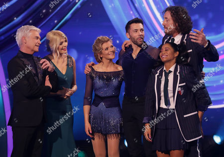 Phillip Schofield and Holly Willoughby with Jane Danson and Sylvain Longchambon and Ryan Sidebottom and Brandee Malto who are eliminated