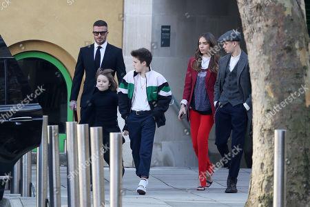 Stock Picture of David Beckham, Cruz Beckham, Brooklyn Beckham, Hana Cross