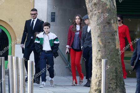 Stock Image of David Beckham, Cruz Beckham, Brooklyn Beckham, Hana Cross, Victoria Beckham