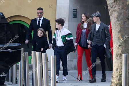 Stock Photo of David Beckham, Cruz Beckham, Brooklyn Beckham, Hana Cross