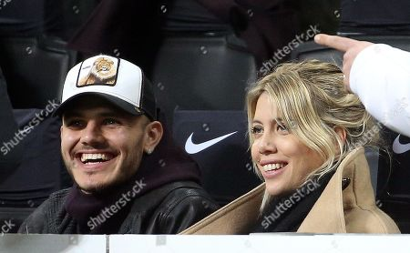 Inter Milan's Mauro Icardi and his wife Wanda Nara watch the Italian Serie A soccer match between FC Inter and Sampdoria at Giuseppe Meazza stadium in Milan, Italy, 17 February 2019.