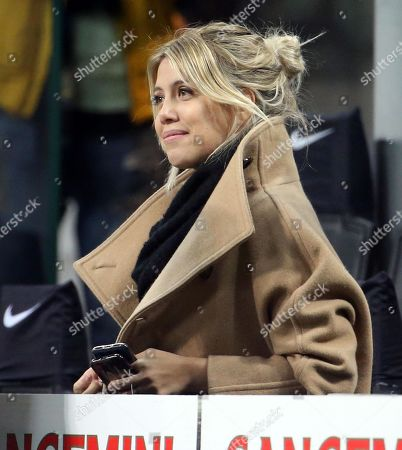 Wanda Nara, the wife of Inter Milan's Mauro Icardi during the Italian Serie A soccer match between FC Inter and Sampdoria at Giuseppe Meazza stadium in Milan, Italy, 17 February 2019.