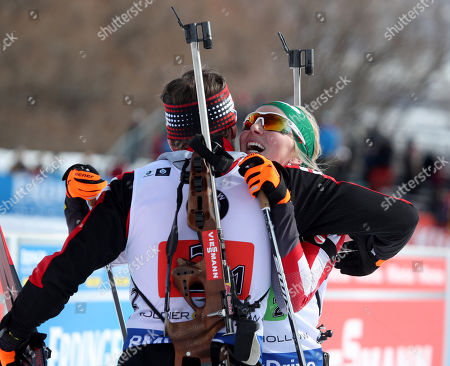 Austria's Simon Eder (L) and Theresa Hauser (R), celebrate their second pace finish in the 'Single Mixed Relays' at Solider Hollow Nordic Center for the IBU Biathlon World Cup in Midway, Utah, USA, 17 February 2019.