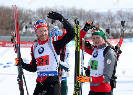 Austria's Simon Eder (L) and Theresa Hauser (R) celebrate their second pace finish in the 'Single Mixed Relays' at Solider Hollow Nordic Center for the IBU Biathlon World Cup in Midway, Utah, USA, 17 February 2019.