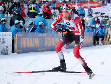 Austria's Simon Eder takes off after shooting as he skies to a second pace finish in the 'Single Mixed Relays' at Solider Hollow Nordic Center for the IBU Biathlon World Cup in Midway, Utah, USA, 17 February 2019.
