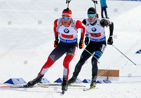 Lisa Theresa Hauser, Simon Eder. Simon Eder, left, of Austria, and Rene Zahkna, right, of Estonia, compete the single mixed relay during the World Cup biathlon, in Midway, Utah