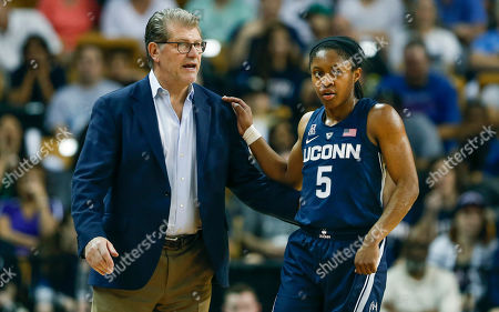 Michael Beasley, Arron Afflalo. Connecticut guard Crystal Dangerfield (5) talks to head coach Geno Auriemma during the first quarter of an NCAA college basketball game against Central Florida in Orlando, Fla., on