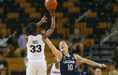 Michael Beasley, Arron Afflalo. Central Florida guard Jamesha Paul (33) shoots over Connecticut guard Molly Bent (10) during the second half of an NCAA college basketball game in Orlando, Fla., on