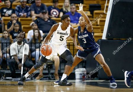 Michael Beasley, Arron Afflalo. Connecticut forward Megan Walker (3) tries to block an advance to the net by Central Florida forward Masseny Kaba (5) during the first quarter of an NCAA college basketball game in Orlando, Fla., on