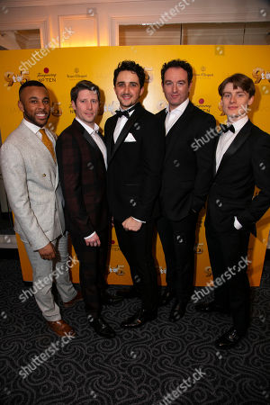 Stock Picture of Ashford Campbell (Dwayne), Llandyll Gove (Dick), Christopher Jordan Marshall (Joe), Sean Needham (Tinsworthy) and Giles Surridge (Josh)