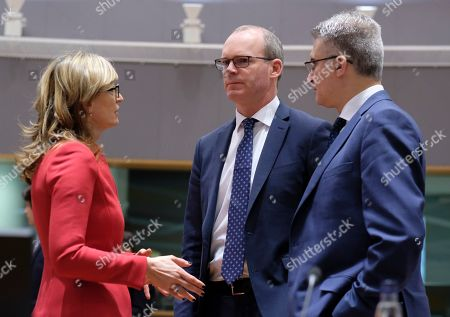 (L-R) Bulgarian Minister of Foreign Affairs Ekaterina Zaharieva, Irish Minister for Foreign Affairs and Trade Simon Coveney and Minister of Foreign Affairs of Malta, Carmelo Abela chat with each other during during an European Foreign Affairs Council meeting, in Brussels, Belgium, 18 February 2019. The Foreign Ministers are expected to discuss international issues such as the situation in the Democratic Republic of Congo, Syria and the Horn of Africa, but also European matters such as the situation in Ukraine or the Prespa agreement on the name change of the former Yugoslav Republic of Macedonia.