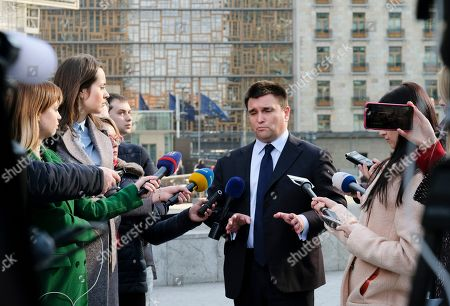 Ukrainian Foreign Affairs Minister Pavlo Klimkin speaks to journalists as he arrives for an European Foreign Affairs Council meeting, in Brussels, Belgium, 18 February 2019. The Foreign Ministers are expected to discuss international issues such as the situation in the Democratic Republic of Congo, Syria and the Horn of Africa, but also European matters such as the situation in Ukraine or the Prespa agreement on the name change of the former Yugoslav Republic of Macedonia.