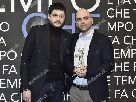 Film director Claudio Giovannesi and writer and journalist Roberto Saviano with the Golden bear won for the film 'La paranza dei bambini'