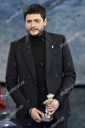 Film director Claudio Giovannesi with the Golden bear won for the film 'La paranza dei bambini'
