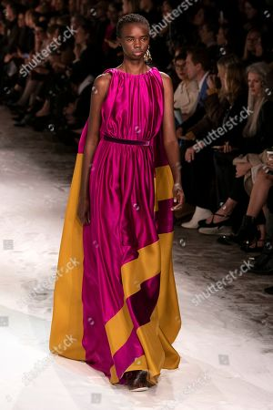 A model presents a creation by Serbian designer Roksanda Ilincic during London Fashion Week 2019, in Central London, Britain, 18 February 2019. The LFW Fall/Winter 2019 runs from 15 to 19 February.