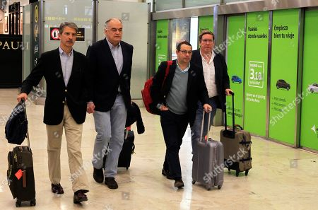 Esteban Gonzalez Pons (L), the Spokesman of the Spanish Popular Party's delegation at the European Parliament, and members of his delegation arrive to Madrid-Barajas Adolfo Suarez airport in Madrid, Spain, 18 February 2019. Gonzalez Pons traveled within a EU delegation sent to Venezuela in order to visit the country and to meet with National Assembly chief Juan Guaido. The European mission was expelled by Venezuelan authorities as they arrived to the country, Pons said.