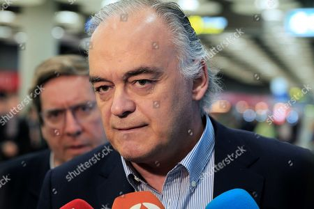 Esteban Gonzalez Pons, the Spokesman of the Spanish Popular Party's delegation at the European Parliament, talks to journalists as he and a delegation arrive to Madrid-Barajas Adolfo Suarez airport in Madrid, Spain, 18 February 2019. Gonzalez Pons traveled within a EU delegation sent to Venezuela in order to visit the country and to meet with National Assembly chief Juan Guaido. The European mission was expelled by Venezuelan authorities as they arrived to the country, Pons said.
