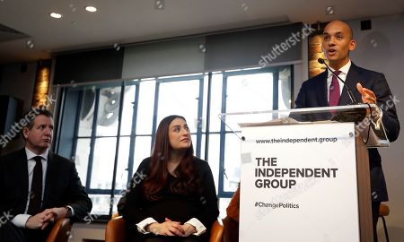 Chaka Umunna speaks alongside Luciana Berger and Chris Leslie, left, during a press conference to announce the new political party, The Independent Group, in London, . Seven British Members of Parliament say they are quitting the main opposition Labour Party over its approach to issues including Brexit and anti-Semitism. Many Labour MPs are unhappy with the party's direction under leader Jeremy Corbyn, a veteran socialist who took charge in 2015 with strong grass-roots backing