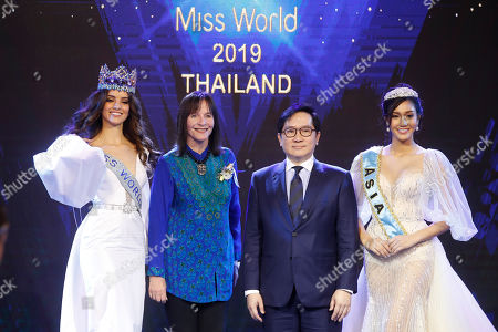 Miss World 2018 Vanessa Ponce De Leon of Mexico, Chairwoman of the Miss World Organization Julia Morley, CEO of TW Pageants Tanawat Wansom of Thailand, and Miss Asia 2018 Nicolene Pichapa Limsnukan of Thailand pose for photographers during an event to welcome Thailand as the host for the Miss World finals 2019, in Bangkok, Thailand, 18 February 2019. Thailand will host the Miss World finals between mid November to mid December 2019.