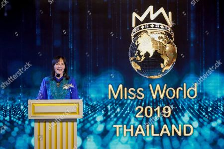Chairwoman of the Miss World Organization Julia Morley speaks on stage during an event to welcome Thailand as the host for the Miss World finals 2019, in Bangkok, Thailand, 18 February 2019. Thailand will host the Miss World finals between mid November to mid December 2019.