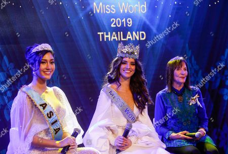 Miss Asia 2018 Nicolene Pichapa Limsnukan of Thailand, Miss World 2018 Vanessa Ponce De Leon of Mexico and Chairwoman of the Miss World Organization Julia Morley on stage during an event to welcome Thailand as the host for the Miss World finals 2019, in Bangkok, Thailand, 18 February 2019. Thailand will host the Miss World finals between mid November to mid December 2019.