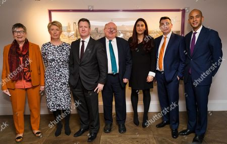 Former British Labour party MPs (L-R) Ann Coffey, Angela Smith, Chris Leslie, Mike Gapes, Luciana Berger, Gavin Shuker and Chuka Umunna pose for a photograph following a press conference in London, Britain, 18 February 2019, during which they announced their resignation from the Labour Party, and the formation of a new independent group of MPs. Speaking at a press conference in London, the seven MP's attacked party chief Jeremy Corbyn for leading the party to the far left and said they would sit as an independent group in parliament.
