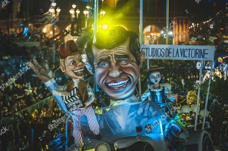 A float representing Jean Paul Belmondo, during the Carnival corso of the Carnival of Nice