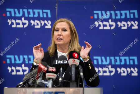 Former Israeli Foreign Minister Tzipi Livni speaks during a press conference in Tel Aviv-Yafo, Israel, . Livni, on Monday, announced her retirement from politics