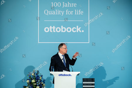Stephan Weil, the Minister President of the German Federal state of Lower Saxony, speaks during the celebration of the 100th anniversary of the company 'ottobock' in Duderstadt, Germany, 18 February 2019. The Otto Bock Holding GmbH & Co. KG is divided into three core areas: Orthopedics (Otto Bock HealthCare), Plastics Processing (Otto Bock Kunststoff Holding) and Information and Communication Technology (Sycor).