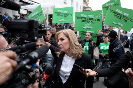 Stock Photo of Former Israeli Foreign Minister and former leader of the opposition Tzipi Livni leaves after a press conference in Tel Aviv, Israel, 18 February 2019. Livni announced retirement from political life and that her party 'Hatnua' (the movement) will not run in the upcoming 2019 elections. Israel will go to elections on 09 April 2019.