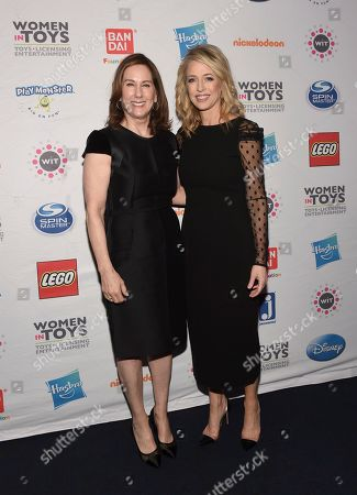 Pam Kaufman, Kathleen Kennedy. Mentorship honoree Pam Kaufman, right, President, Viacom Nickelodeon Consumer Products, stands with her mentor Kathleen Kennedy, of Lucasfilm, at the 15th annual Wonder Women Awards, presented by Women in Toys, Licensing and Entertainment (WIT),, in New York