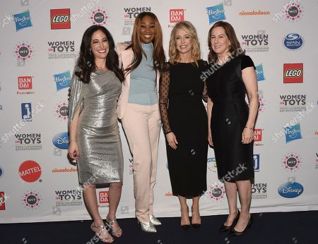 Ashley Mady, Yolanda Adams, Pam Kaufman, Kathleen Kennedy. Ashley Mady, left, President, Women in Toys, Licensing and Entertainment (WIT), Grammy Award-winning artist Yolanda Adams, second left, mentorship honoree Pam Kaufman, second right, President, Viacom Nickelodeon Consumer Products, and presenter Kathleen Kennedy, right, of Lucasfilm, attend WIT's 15th annual Wonder Women Awards, in New York